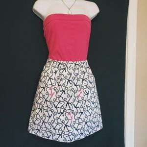 Lilly Pulitzer Strapless Anchor Nautical Dress M